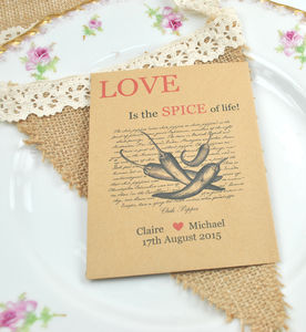 Recycled Chilli Seed Packet Wedding Favour - edible favours