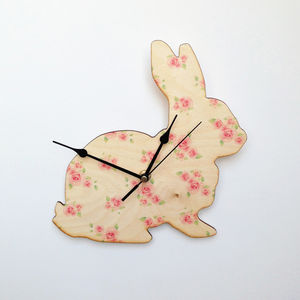 Vintage Style Rose Bunny Clock