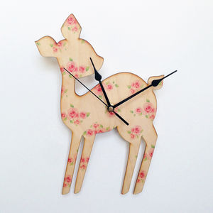 Vintage Style Rose Deer Clock - children's clocks