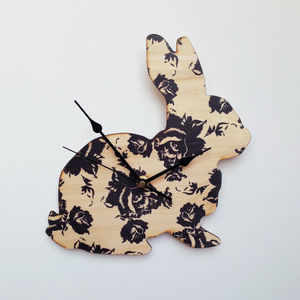 Black Rose Bunny Clock - clocks