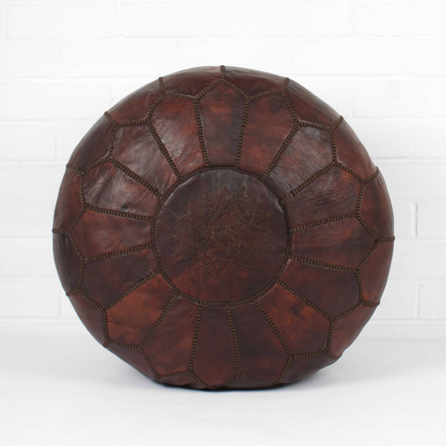Moroccan Leather Pouffe Cover Essential Collection By