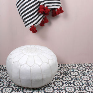 Moroccan Leather Pouffe Cover, Essential Collection - furniture