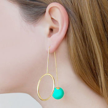 Pistachio Galaxy Statement Orb Drop Earrings