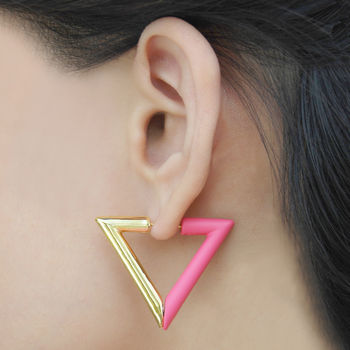 Hot Pink Geometric Triangle Magnetic Earrings