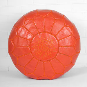 Moroccan Leather Pouffe Cover, Bright Collection - furniture