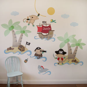 Pirate Monkey Wall Stickers - personalised