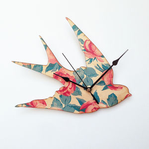 Rose Swallow Clock