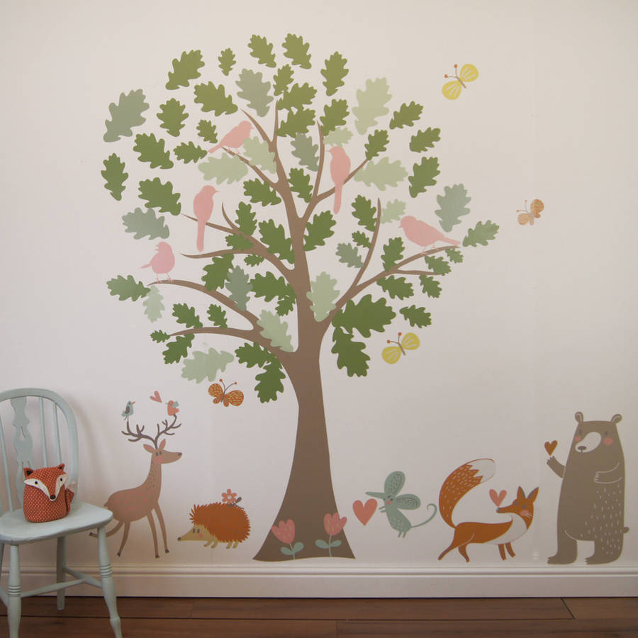 oak tree and animals woodland wall stickers by parkins ...