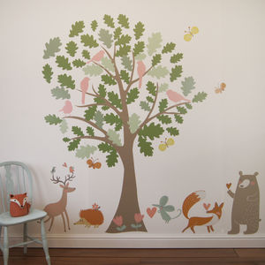 Oak Tree And Animals Woodland Wall Stickers - living room