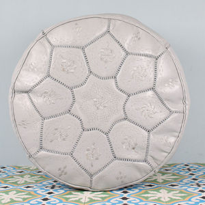 Moroccan Leather Pouffe Cover, Tile Design - furniture