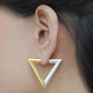 Gold Geometric Triangle Magnetic Earrings - earrings