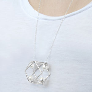 Cubist Geometric Pearl Statement Silver Necklace