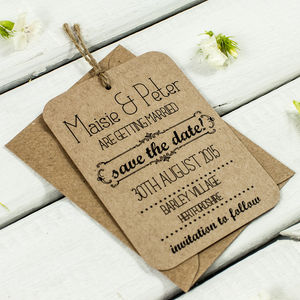 Kraft Save The Date Wedding Tag - invitations
