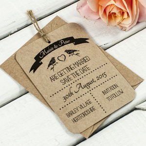 Bird Kraft Save The Date Wedding Tag - wedding stationery