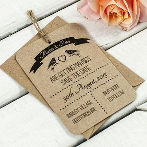 Bird Kraft Save The Date Wedding Tag