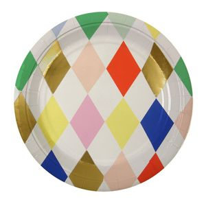 Circus Party Harlequin Paper Plates - decoration