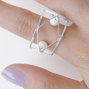 Silver Cubist Geometric Pearl Statement Ring