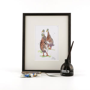 Runner Ducks Print, Three Ponderers - animals & wildlife