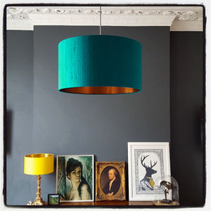 Brushed Copper Lampshade In Teal Indian Silk - lamp bases & shades
