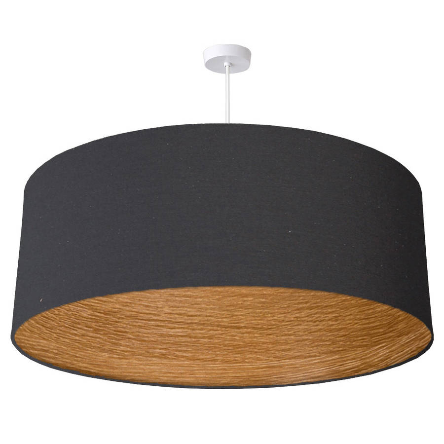 Oversize Oak Wood Lined Ceiling Pendant Shade By Quirk