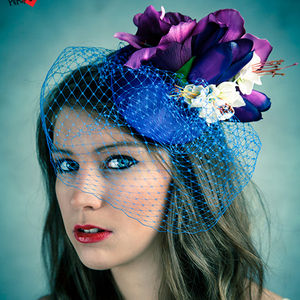 Vintage Style Floral Fascinator With Blue Veil