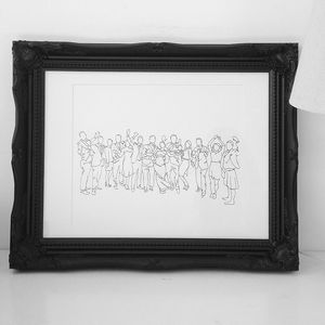 Personalised Wedding Party Drawing