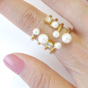 Crystal And Pearl Open Cuff Cocktail Ring