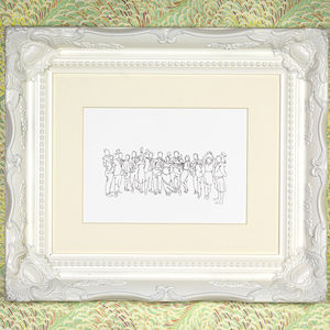Personalised Wedding Party Drawing - posters & prints