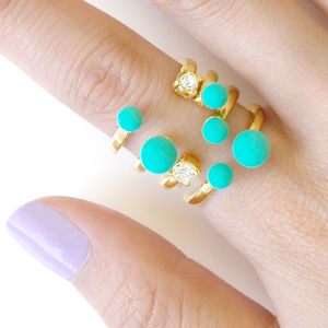 Pistachio Crystal Open Cuff Cocktail Ring - rings