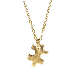 A Little Piece Of Me Jigsaw Necklace Gold - necklaces & pendants