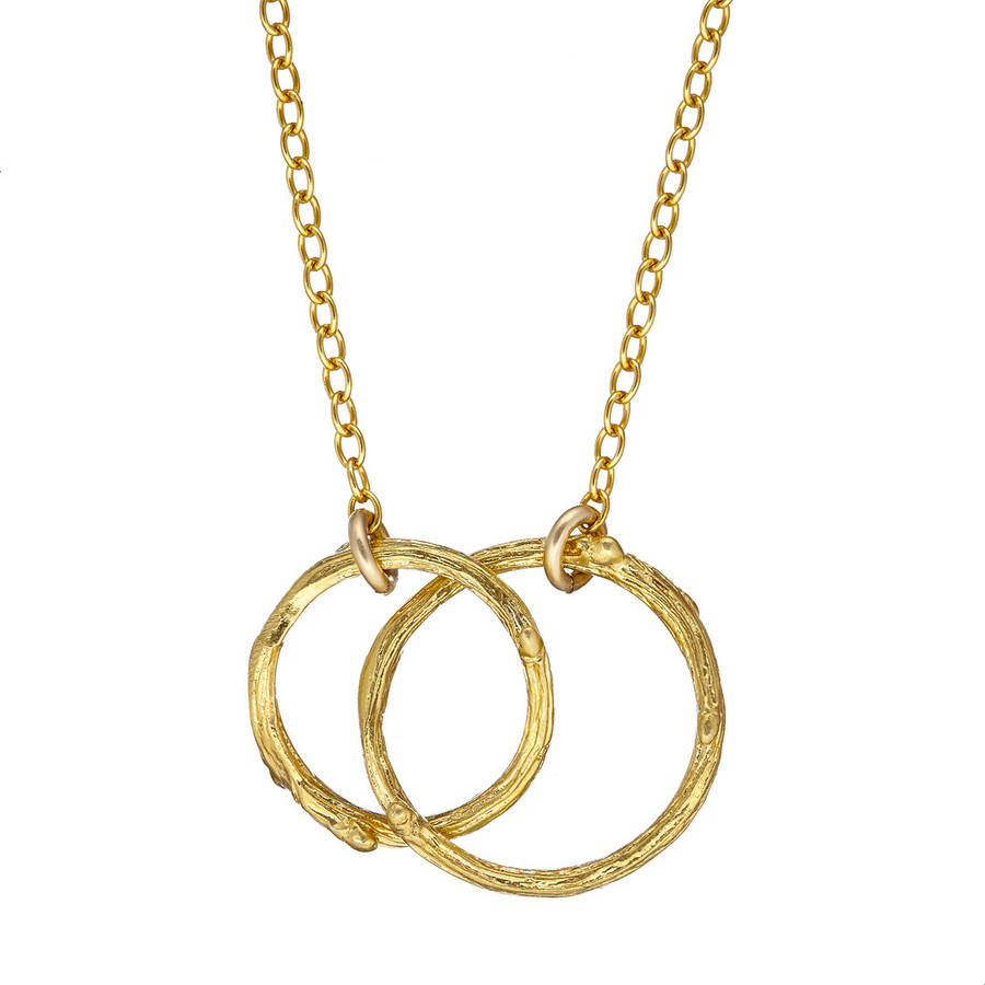Hawthorn Twig Double Circle Infinity Necklace Gold