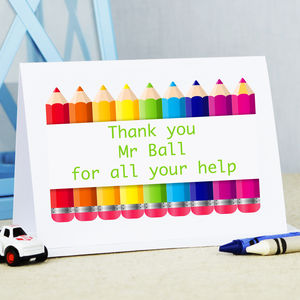 Personalised Thank You Teacher 'Pencil' Card