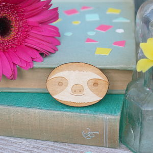 Wooden Sloth Brooch