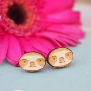 Wooden Sloth Stud Earrings - earrings