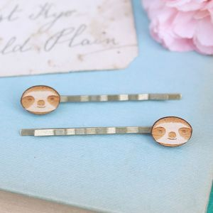 Wooden Sloth Hair Grips - womens