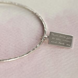 Personalised Silver Tag Message Bangle - jewellery for women