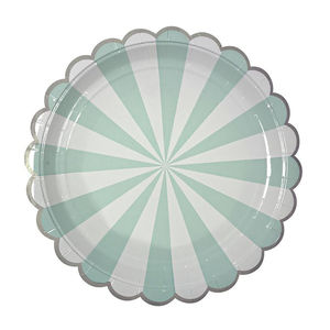 Striped Mint Paper Party Plates - children's parties