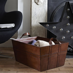Leather Blanket Basket - baskets