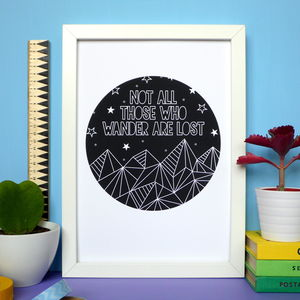 Geometric Mountains Quote Print - prints & art sale