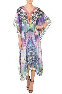 Purple Printed Designer Kaftan - tops & t-shirts