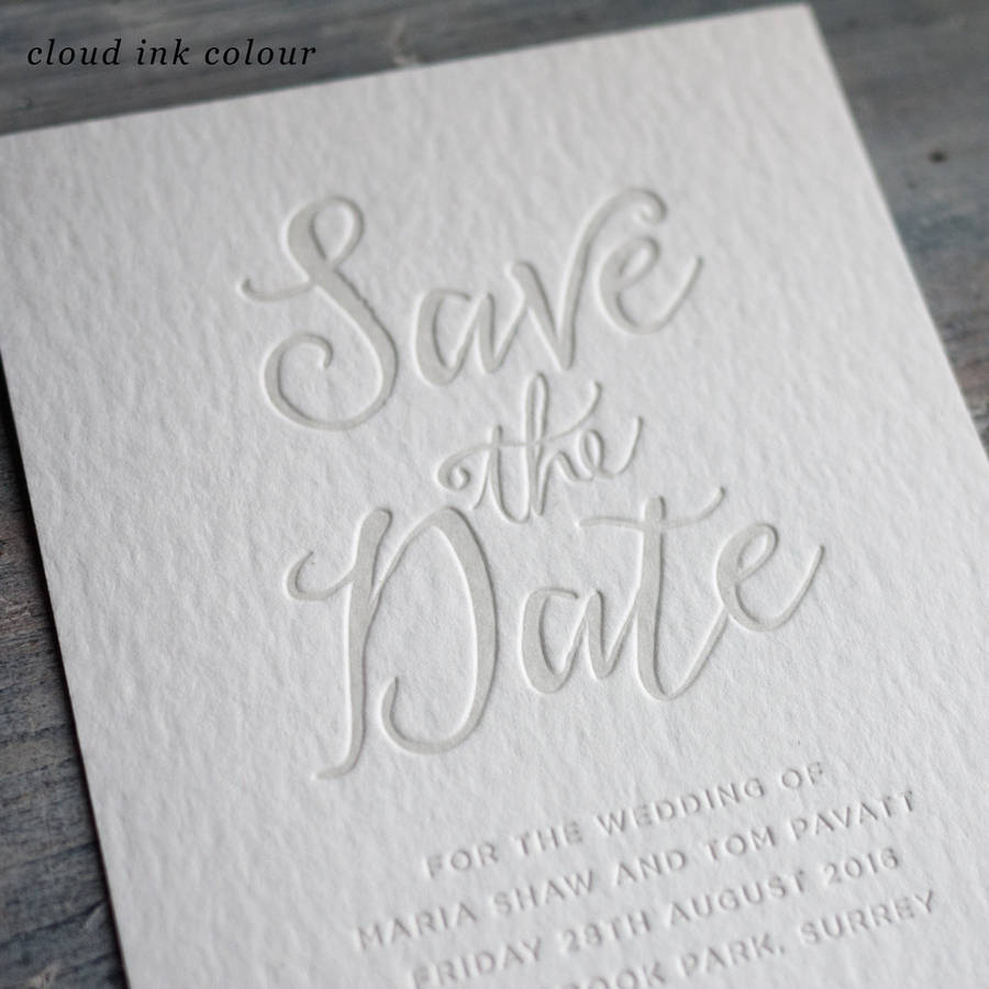 Brand-new calligraphy letterpress save the date by print for love  NZ94