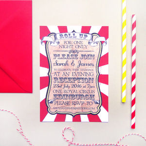 Circus Festival Wedding Evening Invitation