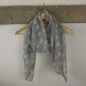 Grey Elephant Print Scarf - hats, scarves & gloves
