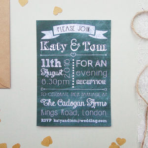 Chalk Evening Wedding Reception Invitation