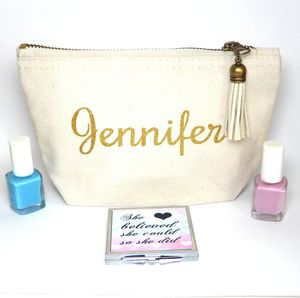Personalised Name Make Up Bag With Gold Or Glitter Text - bags & purses