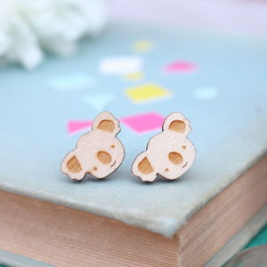 Wooden Koala Stud Earrings - women's jewellery