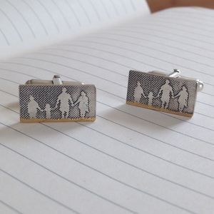 Personalised Family On The Beach Dad Cufflinks