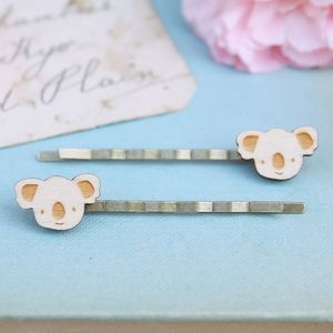 Wooden Koala Hair Grips - hair accessories