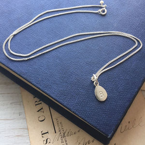 Personalised Letter Teardrop Necklace In Silver
