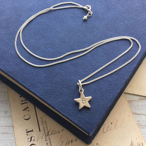 Personalised Initial Star Necklace In Sterling Silver